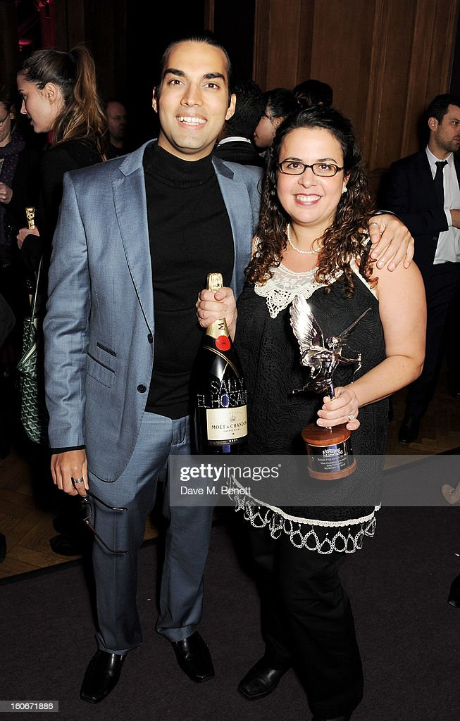 James Floyd (L) and Sally El Hosaini, winner of Most Promising Newcomer, attend the London Evening Standard British Film Awards supported by Moet & Chandon and Chopard at the London Film Museum on February 4, 2013 in London, England.