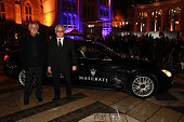 James Foley and Jeremy Thomas arrive in a Maserati to the BFI Luminous Funraising Gala at The Guildhall on October 6 2015 in London England