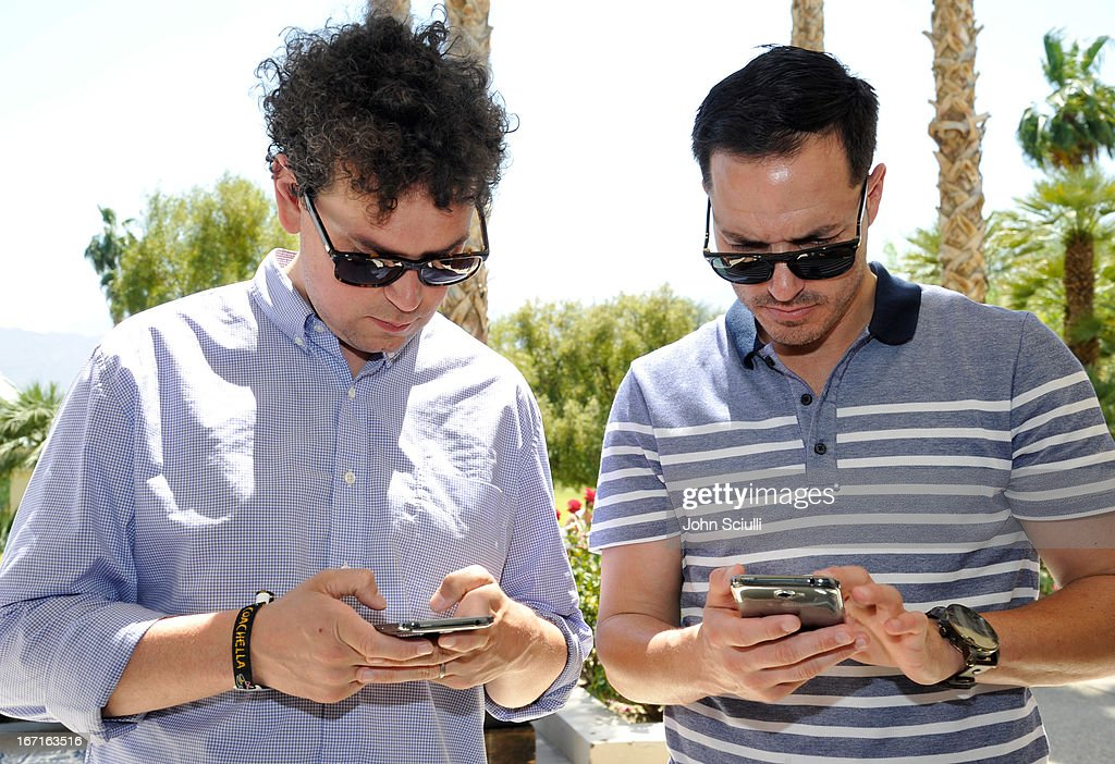 James Ford of Simian Mobile Disco sampling the Samsung Galaxy Note II at the Soho House pop-up with Bacardi hosted by RADD during Coachella 2013 at Merv Griffin Estate on April 21, 2013 in La Quinta, California.