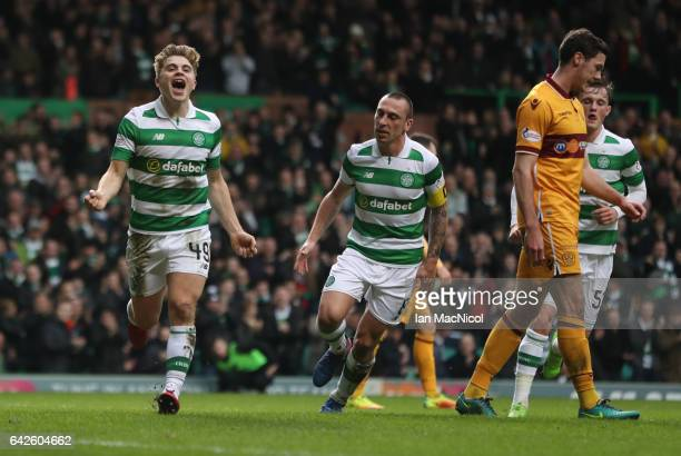 James Forrest of Celtic celebrates after he scores his team's second goal during the Ladbrokes Scottish Premiership match between Celtic and...