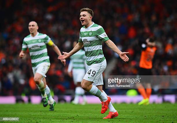 James Forrest of Celtic celebrates scoring his team's second goal during the Scottish League Cup Final between Dundee United and Celtic at Hampden...