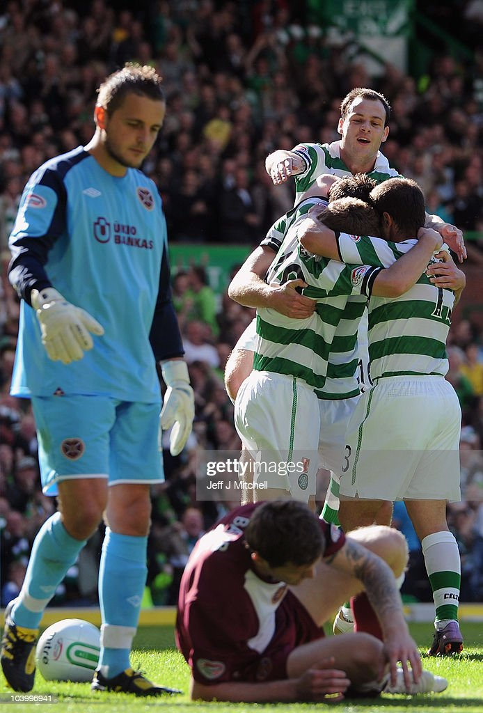 James Forrest of Celtic celebrates with team mates after scoring during the Clydesdale Bank Premier League match between Celtic and Hearts at Celtic Park on September 11, 2010 in Glasgow, Scotland.