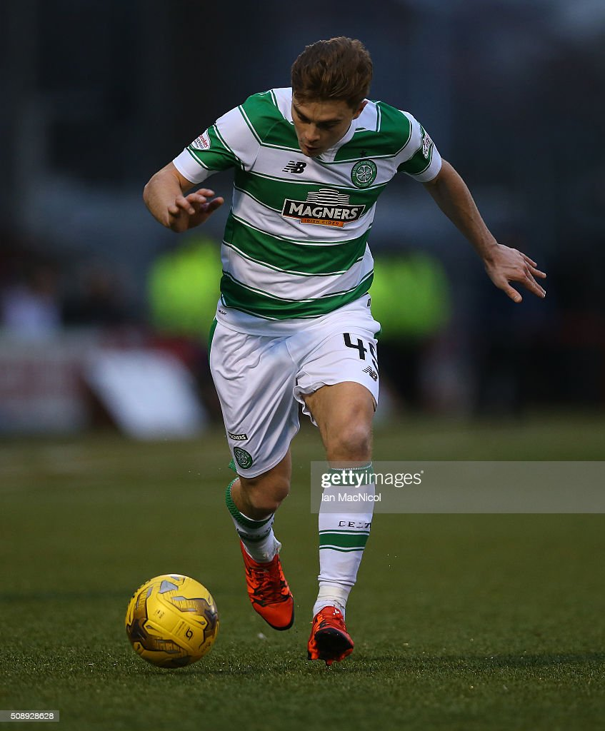 James Forrest of Celtic controls the ball during the William Hill Scottish Cup Fifth Round match between East Kilbride and Celtic at Excelsior Stadium on February 7, 2016 in Airdrie, Scotland.