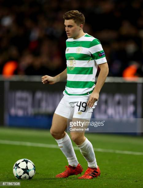 James Forrest of Celtic during the UEFA Champions League group B match between Paris SaintGermain and Celtic FC at Parc des Princes on November 22...