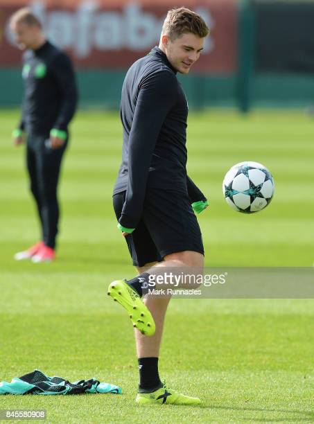 James Forrest of Celtic in action during a Celtic training session ahead of the UEFA Champions League Group B match against Paris SaintGermain at...