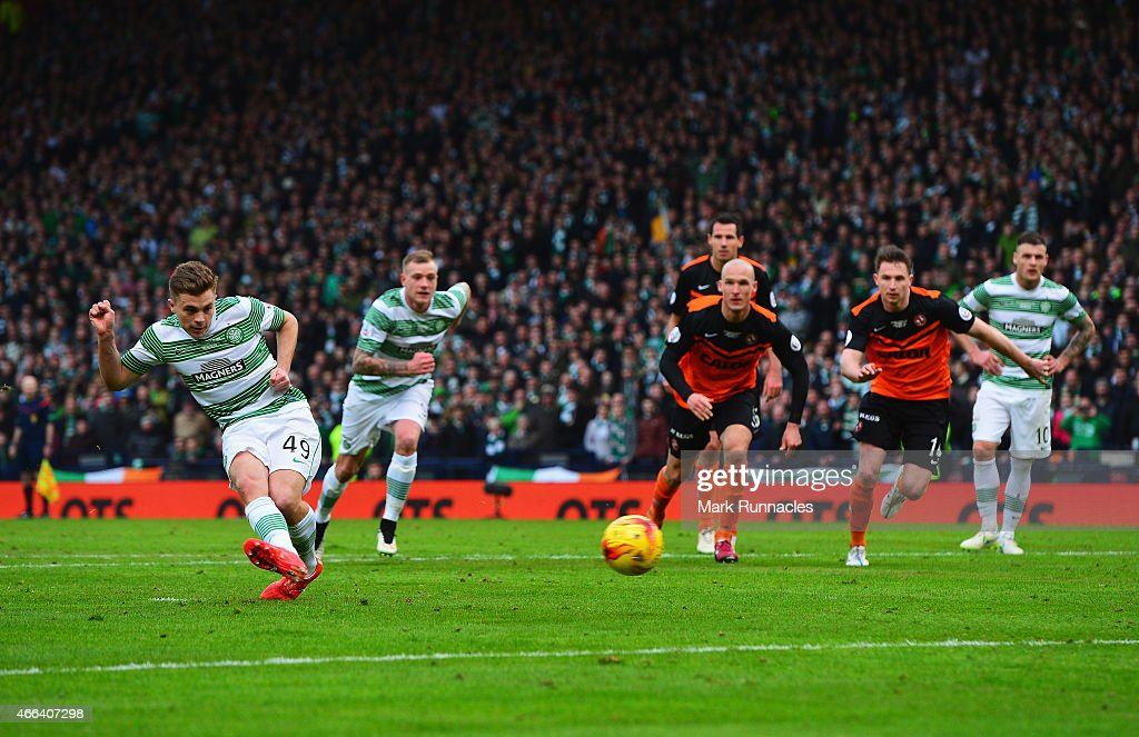James Forrest of Celtic misses from the penalty spot during the Scottish League Cup Final between Dundee United and Celtic at Hampden Park on March 15, 2015 in Glasgow, Scotland.