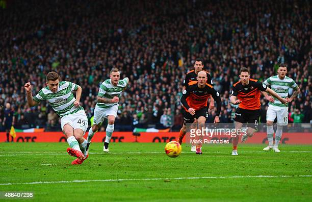 James Forrest of Celtic misses from the penalty spot during the Scottish League Cup Final between Dundee United and Celtic at Hampden Park on March...