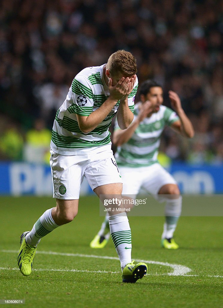 James Forrest of Celtic reacts after a missed chance during the UEFA Champions League Group H match between Celtic and FC Barcelona at Celtic Park Stadium on October 1, 2013 in Glasgow, Scotland.