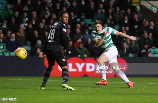 James Forrest of Celtic scores his teams fifth goal during the Ladbrokes Scottish Premiership match between Celtic and Motherwell at Celtic Park on...