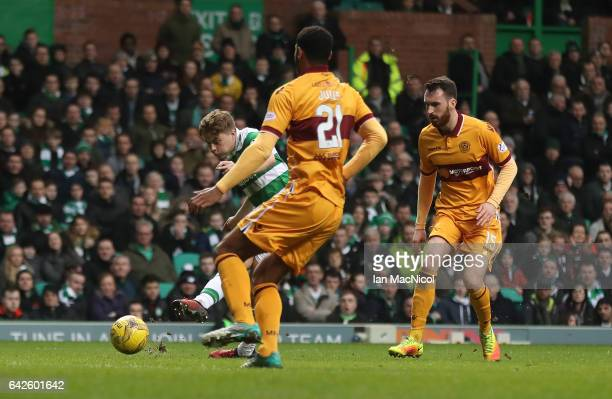 James Forrest of Celtic scores his team's second goal during the Ladbrokes Scottish Premiership match between Celtic and Motherwell at Celtic Park on...
