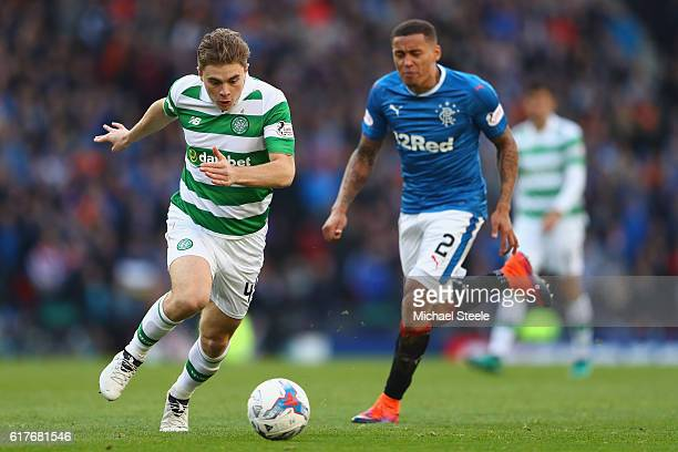 James Forrest of Celtic shadowed by James Tavernier of Rangers during the Betfred Cup SemiFinal match between Rangers and Celtic at Hampden Park on...