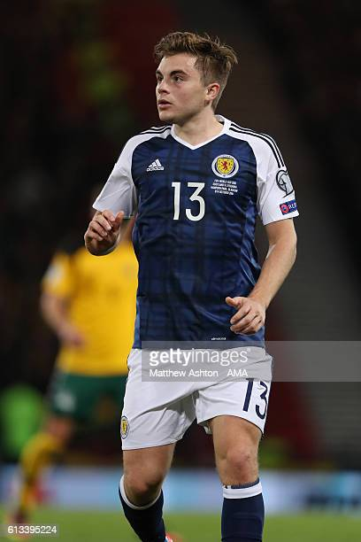 James Forrest of Scotland during the FIFA 2018 World Cup Qualifier between Scotland and Lithuania at Hampden Park on October 8 2016 in Glasgow...