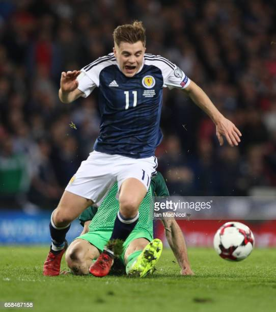 James Forrest of Scotland is seen during the FIFA 2018 World Cup Qualifier between Scotland and Slovenia at Hampden Park on March 26 2017 in Glasgow...