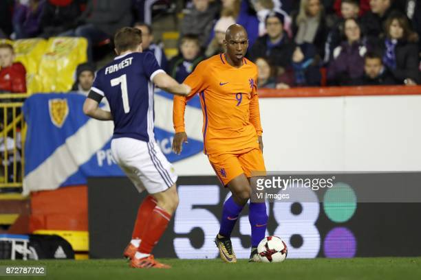 James Forrest of Scotland Ryan Babel of Holland during the friendly match between Scotland and The Netherlands on November 09 2017 at Pittodrie...