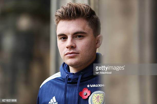 James Forrest poses for photographs during a Scotland media session at Mar Hall near Bishopton on November 7 2016 in Glasgow Scotland