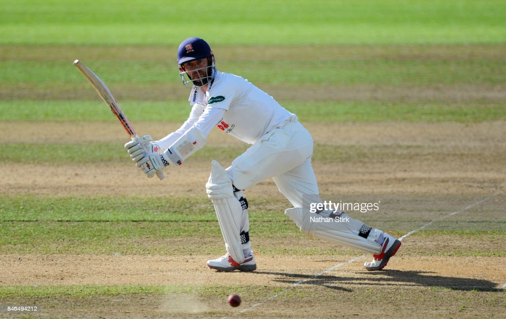 James Foster of Essex batting during the County Championship Division One match between Warwickshire and Essex at Edgbaston on September 13, 2017 in Birmingham, England.