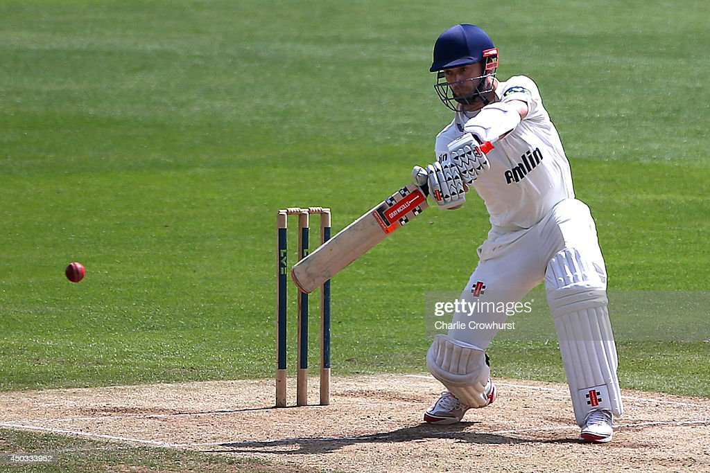 James Foster of Essex hits out during day three of the LV County Championship match between Kent and Essex at The Spitfire Ground St Lawrence on June...
