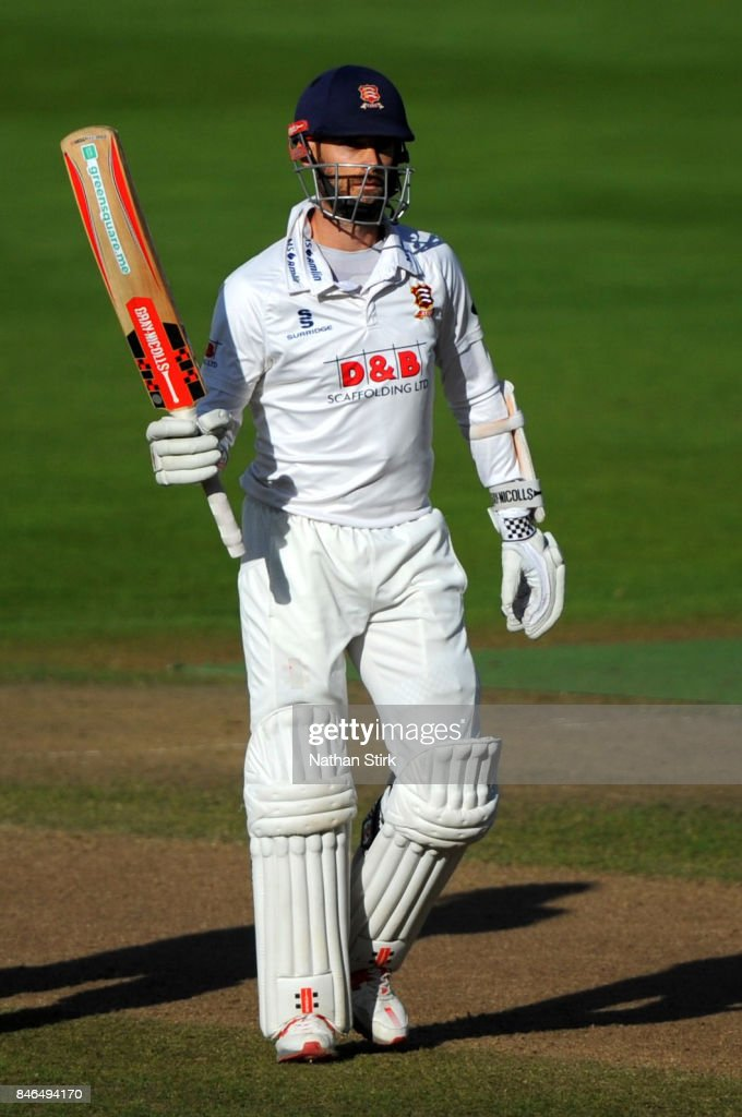 James Foster of Essex raises his bat after he scores fifty runs during the County Championship Division One match between Warwickshire and Essex at Edgbaston on September 13, 2017 in Birmingham, England.