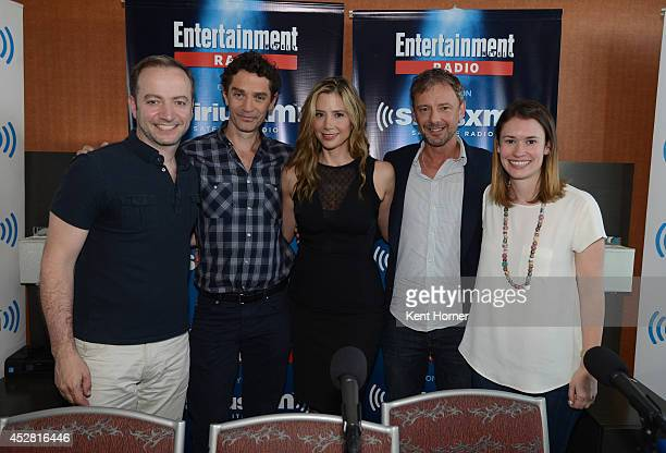 James Frain Mira Sorvino and John Simm pose with hosts Mario Correa and Julia Cunningham at SiriusXM's Entertainment Weekly Radio channel from...
