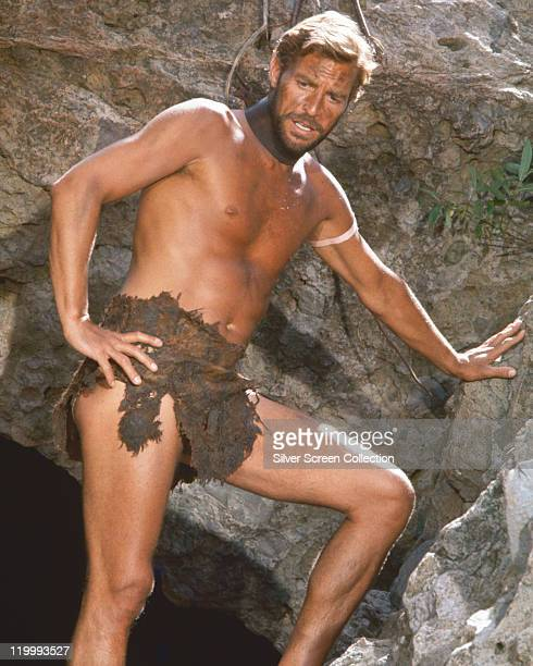 James Franciscus US actor wearing a leather loincloth and a manacle around his neck in a publicity still issued for the film 'Beneath the Planet of...