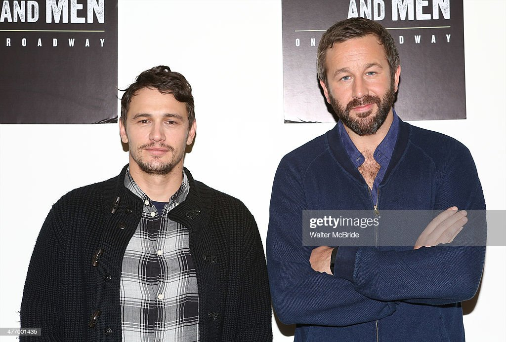 James Franco and Chris O'Dowd attend the 'Of Mice And Men' press conference at Signature Theatre, Rehearsal Studio 2 on March 6, 2014 in New York City.