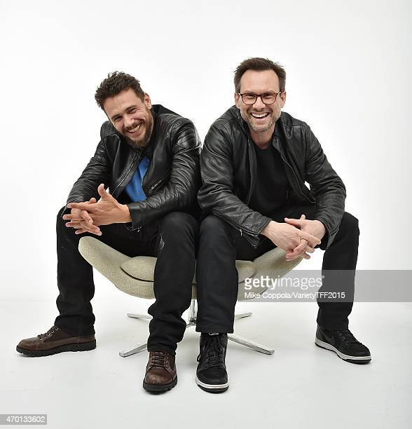 James Franco and Christian Slater from 'Adderall Diaries' appear at the 2015 Tribeca Film Festival Getty Images Studio on April 16 2015 in New York...