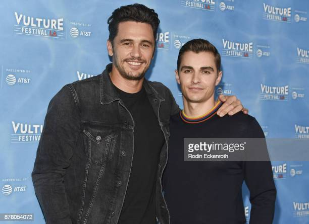 James Franco and Dave Franco attend 'The Disaster Artist' panel at Vulture Festival Los Angeles at Hollywood Roosevelt Hotel on November 18 2017 in...