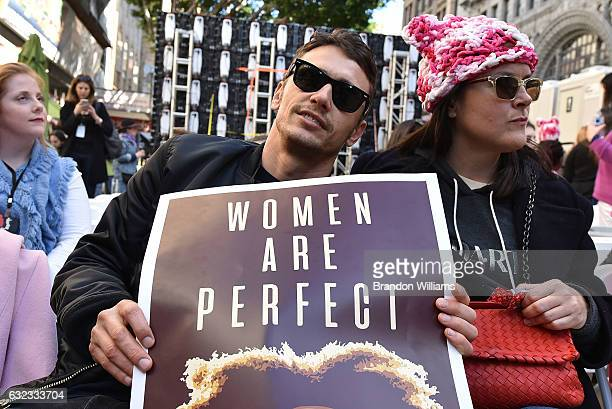 James Franco and friend attend Women's March Los Angeles on January 21 2017 in Los Angeles California