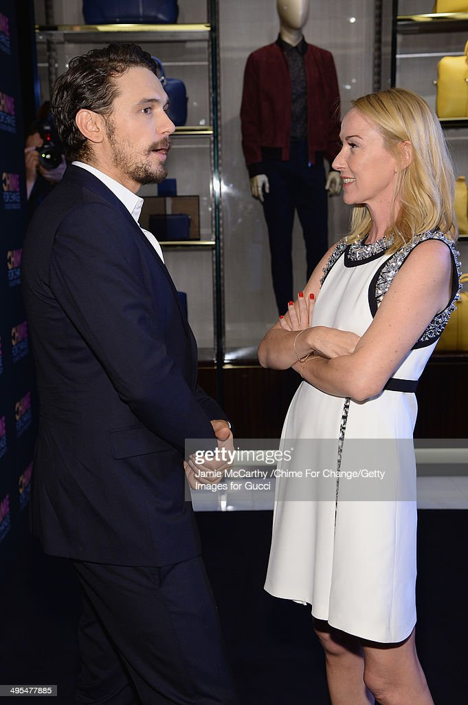 James Franco (L) and Gucci Creative Director Frida Giannini attend the CHIME FOR CHANGE One-Year Anniversary Event hosted by Gucci Creative Director Frida Giannini and T Magazine Editor-In-Chief Deborah Needleman at Gucci Fifth Avenue on June 3, 2014 in New York City.