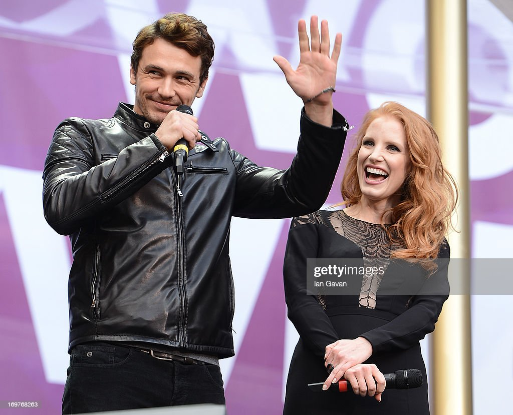 James Franco and Jessica Chastain speak on stage at the 'Chime For Change: The Sound Of Change Live' Concert at Twickenham Stadium on June 1, 2013 in London, England. Chime For Change is a global campaign for girls' and women's empowerment founded by Gucci with a founding committee comprised of Gucci Creative Director Frida Giannini, Salma Hayek Pinault and Beyonce Knowles-Carter.