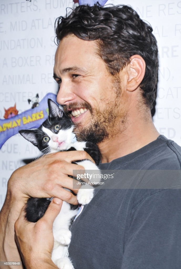 <a gi-track='captionPersonalityLinkClicked' href=/galleries/search?phrase=James+Franco&family=editorial&specificpeople=577480 ng-click='$event.stopPropagation()'>James Franco</a> and kitten Totes Magotes attend Broadway Barks 16 at Shubert Alley on July 12, 2014 in New York City.