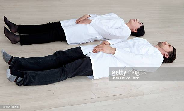 James Franco and Marina Abramovic doing the 'Method Abramovic' performance in New York City