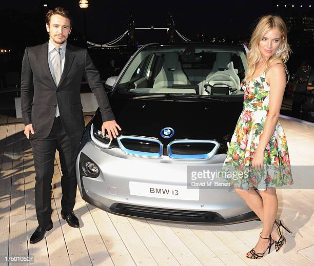 James Franco and Sienna Miller attend the global reveal of the BMW i3 the luxury car brand's first electric car at The Old Billingsgate on July 29...