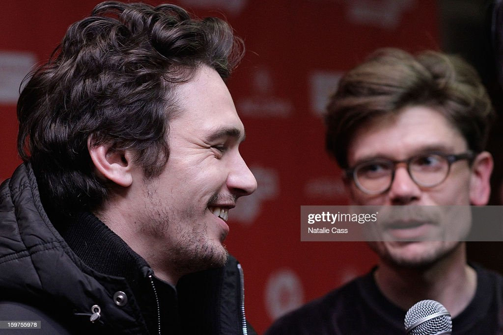 <a gi-track='captionPersonalityLinkClicked' href=/galleries/search?phrase=James+Franco&family=editorial&specificpeople=577480 ng-click='$event.stopPropagation()'>James Franco</a> (L) and Travis Mathews speak at 'Interior. Leather Bar' premiere during the 2013 Sundance Film Festival at Prospector Square on January 19, 2013 in Park City, Utah.