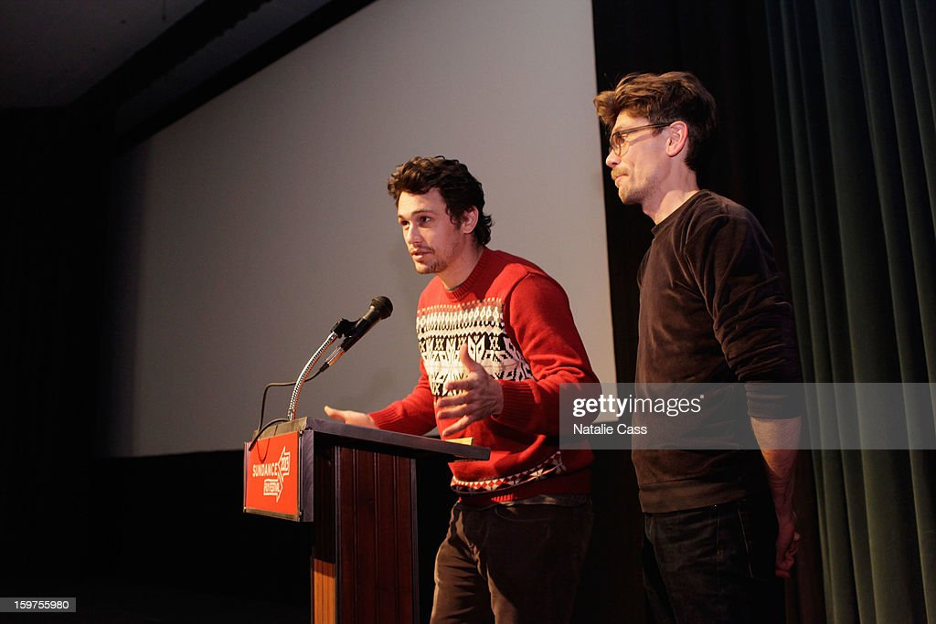 <a gi-track='captionPersonalityLinkClicked' href=/galleries/search?phrase=James+Franco&family=editorial&specificpeople=577480 ng-click='$event.stopPropagation()'>James Franco</a> (L) and Travis Mathews speak onstage at 'Interior. Leather Bar' premiere during the 2013 Sundance Film Festival at Prospector Square on January 19, 2013 in Park City, Utah.