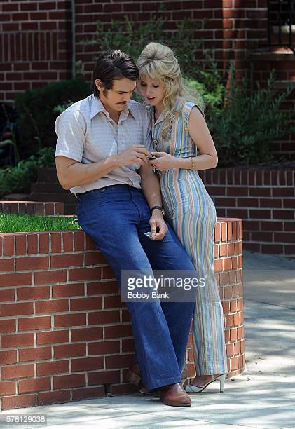 James Franco and Zoe Kazan on the set of 'The Deuce' on July 20 2016 in New York City