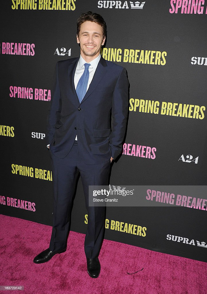 James Franco arrives at the 'Spring Breakers' Los Angeles Premiere at ArcLight Hollywood on March 14, 2013 in Hollywood, California.