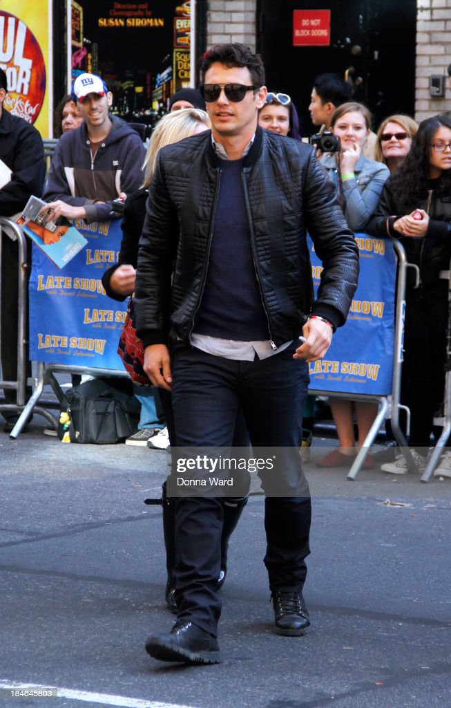 <a gi-track='captionPersonalityLinkClicked' href=/galleries/search?phrase=James+Franco&family=editorial&specificpeople=577480 ng-click='$event.stopPropagation()'>James Franco</a> arrives for the 'Late Show with David Lettterman' at Ed Sullivan Theater on October 14, 2013 in New York City.