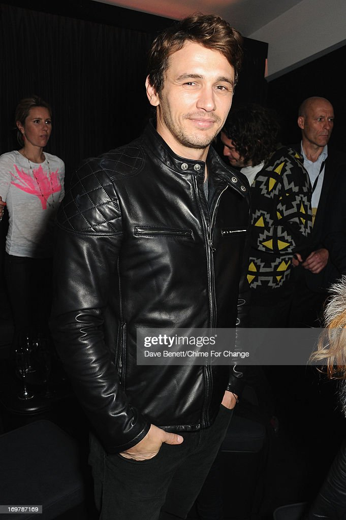 <a gi-track='captionPersonalityLinkClicked' href=/galleries/search?phrase=James+Franco&family=editorial&specificpeople=577480 ng-click='$event.stopPropagation()'>James Franco</a> attends the after show party following the 'Chime For Change: The Sound Of Change Live' Concert at Twickenham Stadium on June 1, 2013 in London, England. Chime For Change is a global campaign for girls' and women's empowerment founded by Gucci with a founding committee comprised of Gucci Creative Director Frida Giannini, Salma Hayek Pinault and Beyonce Knowles-Carter.
