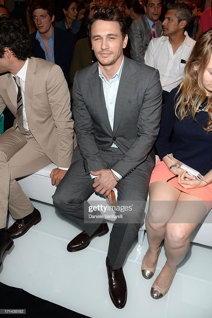 <a gi-track='captionPersonalityLinkClicked' href=/galleries/search?phrase=James+Franco&family=editorial&specificpeople=577480 ng-click='$event.stopPropagation()'>James Franco</a> attends the Gucci show during Milan Menswear Fashion Week Spring Summer 2014 show on June 24, 2013 in Milan, Italy.