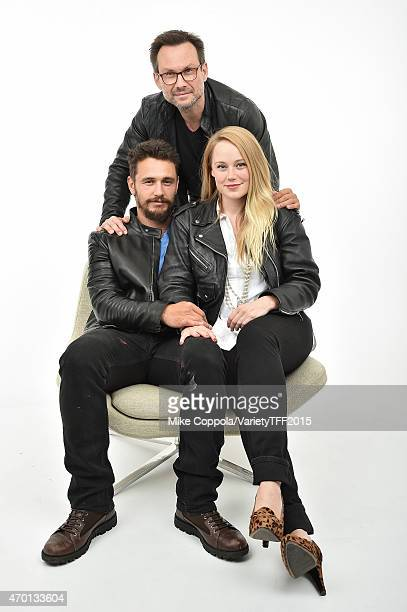 James Franco Christian Slater and Pamela Romanowsky from 'Adderall Diaries' appear at the 2015 Tribeca Film Festival Getty Images Studio on April 16...