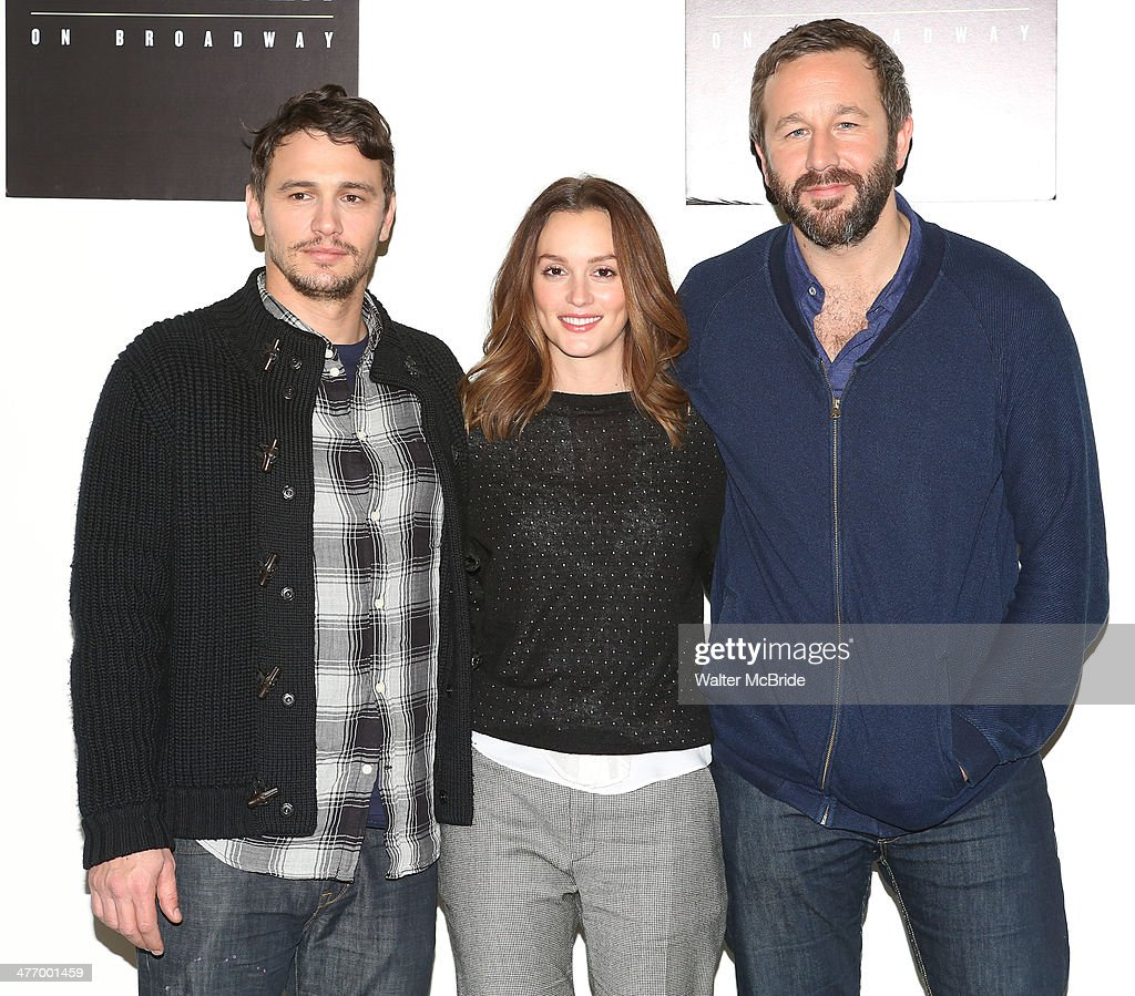 James Franco, Leighton Meester and Chris O'Dowd attend the 'Of Mice And Men' press conference at Signature Theatre, Rehearsal Studio 2 on March 6, 2014 in New York City.