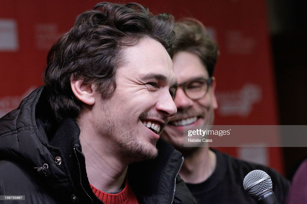 <a gi-track='captionPersonalityLinkClicked' href=/galleries/search?phrase=James+Franco&family=editorial&specificpeople=577480 ng-click='$event.stopPropagation()'>James Franco</a> speaks at 'Interior. Leather Bar' premiere during the 2013 Sundance Film Festival at Prospector Square on January 19, 2013 in Park City, Utah.
