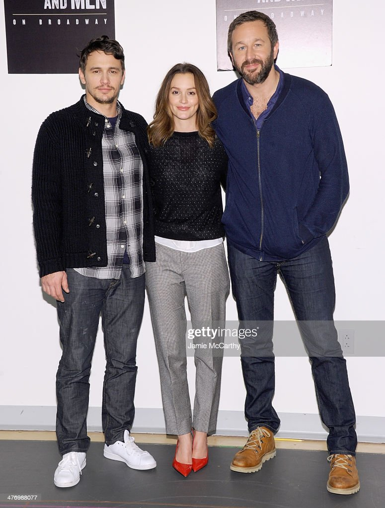 James Franco,Leighton Meester and Chris O'Dowd attend the 'Of Mice And Men' Press Conference at Signature Theatre, Rehearsal Studio 2 on March 6, 2014 in New York City.