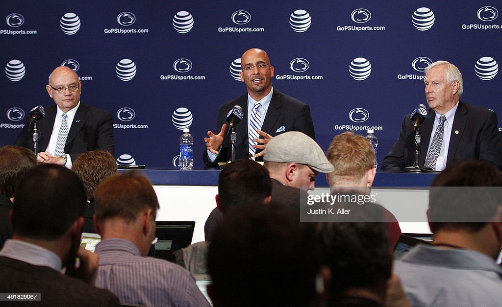 James Franklin, head coach of the Penn State Nittany Lions addresses the media between Dave Joyner, Director of Athletics of The Pennsylvania State University (Left) and Rodney Erickson, President of The Pennsylvania State University on January 11, 2014 at Beaver Stadium in State College, Pennsylvania.