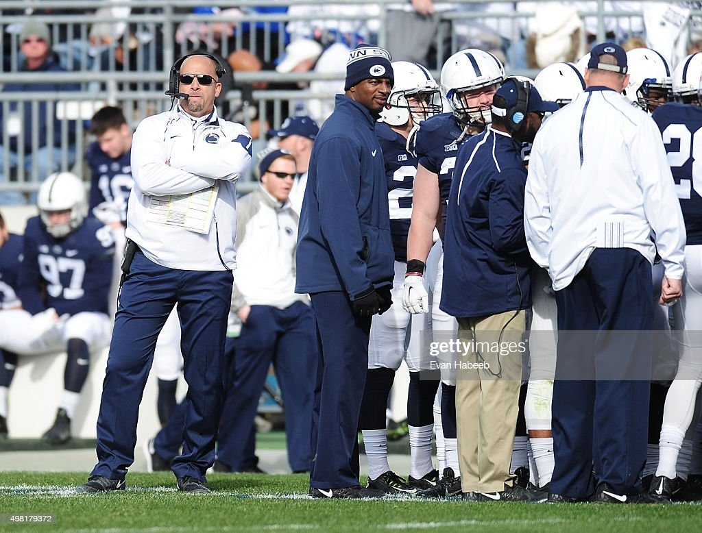 <a gi-track='captionPersonalityLinkClicked' href=/galleries/search?phrase=James+Franklin+-+American+Football+Coach&family=editorial&specificpeople=12333543 ng-click='$event.stopPropagation()'>James Franklin</a> head coach of the Penn State Nittany Lions looks on in the second quarter against the Michigan Wolverines at Beaver Stadium on November 21, 2015 in State College, Pennsylvania.