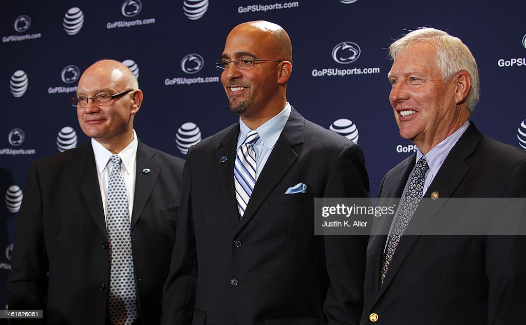 James Franklin, head coach of the Penn State Nittany Lions poses for a photo between Dave Joyner, Director of Athletics of The Pennsylvania State University (Left) and Rodney Erickson, President of The Pennsylvania State University on January 11, 2014 at Beaver Stadium in State College, Pennsylvania.