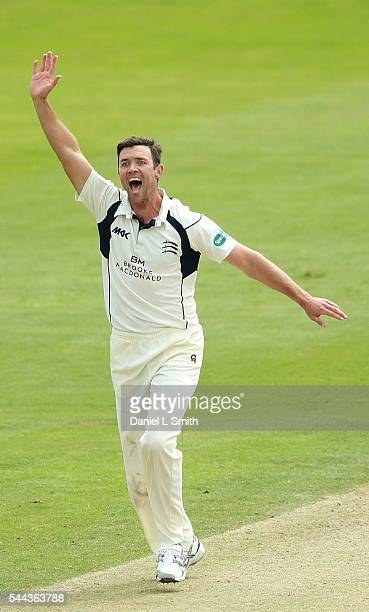 James Franklin of Middlesex celebrates the dismissal of Kane Williamson of Yorkshire during day one of the Specsavers County Championship division...