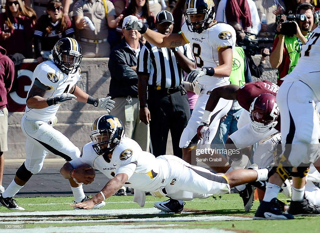 James Franklin #1 of the Missouri Tigers dives into the endzone for a touchdown during a game against the Texas A&M Aggies at Kyle Field on October 29, 2011 in College Station, Texas.