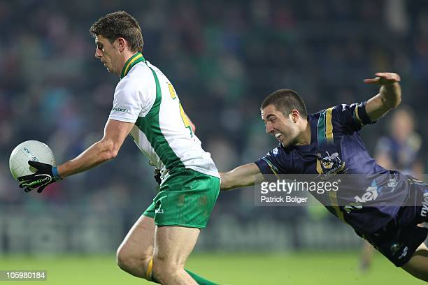 James Frawley of Australia and Colm Begley of Ireland in action during the International Rules series First Test between Ireland and Australia at the...